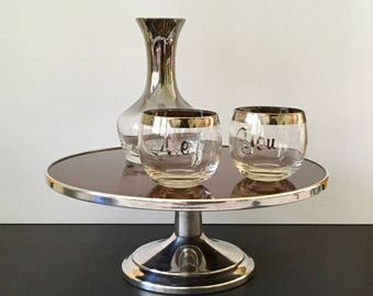 Mid Century Crescent Silver Plate and Faux Wood Formica Pedestal Cake Stand, Footed Cake Stand