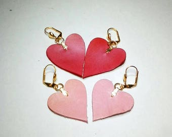 Leather earrings with leather hearts. Valentine day gift.