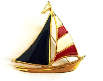 Vintage Sailboat Brooch, Red, White and Blue Enamel, Patriotic Colors Boat Pin