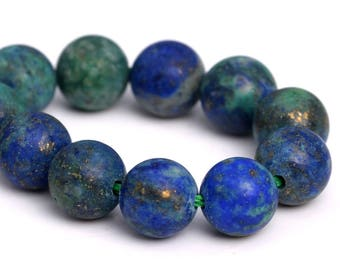 "4MM Matte Azurite Beads Grade AAA Natural Gemstone Half Strand Round Loose Beads 7"" BULK LOT 1,3,5,10 and 50 (101259h-887)"