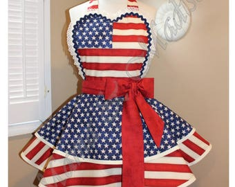 American Flag Woman's Retro Apron With Tiered Skirt And Bib...Plus Sizes Available