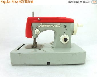 SALE 20% off Vintage Russian Toy Sewing Machine, Grey and Red toy, Soviet Union toy