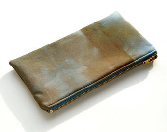 Shibori Pouch - Chocolate Steel