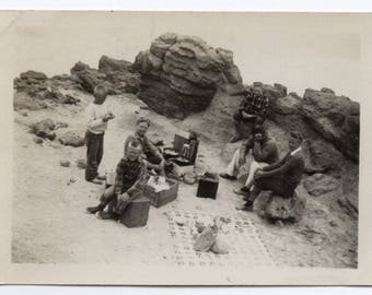 Mexico July 1948 Picnic Vintage Snapshot Antique Photo Outside Food Memorabilia Family Pictures Black And White Photograph