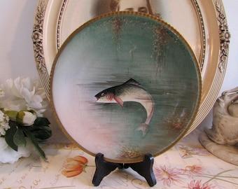 Vintage French Limoges porcelain collectible, display plate. Fish, trout.  Paris apartment, cottage chic.