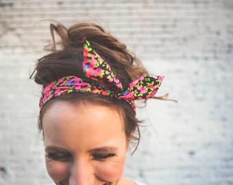 Black Floral Headwrap