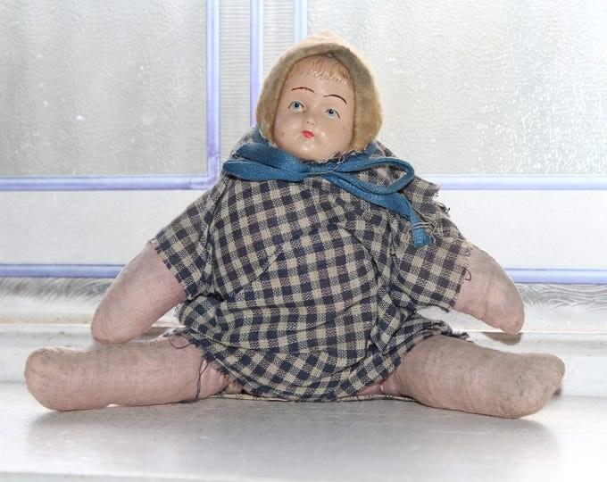 Antique Doll Celluloid Face Cloth Body Rustic Farmhouse Decor