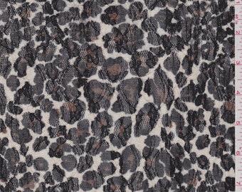 Ecru Cheetah Stretch Lace, Fabric By The Yard