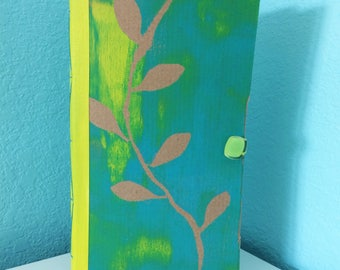Turquoise Art Journal Nature Journal Blank book Recycled Journal Mixed Media Upcycled Journal Handmade Journal Handmade Book Sketchbook