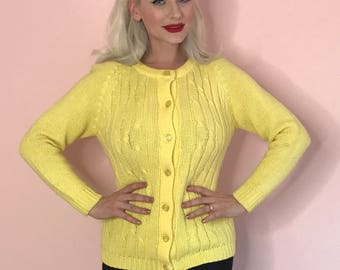 Vintage Bright Yellow Button Down Knit Pinup Sweater Size Small