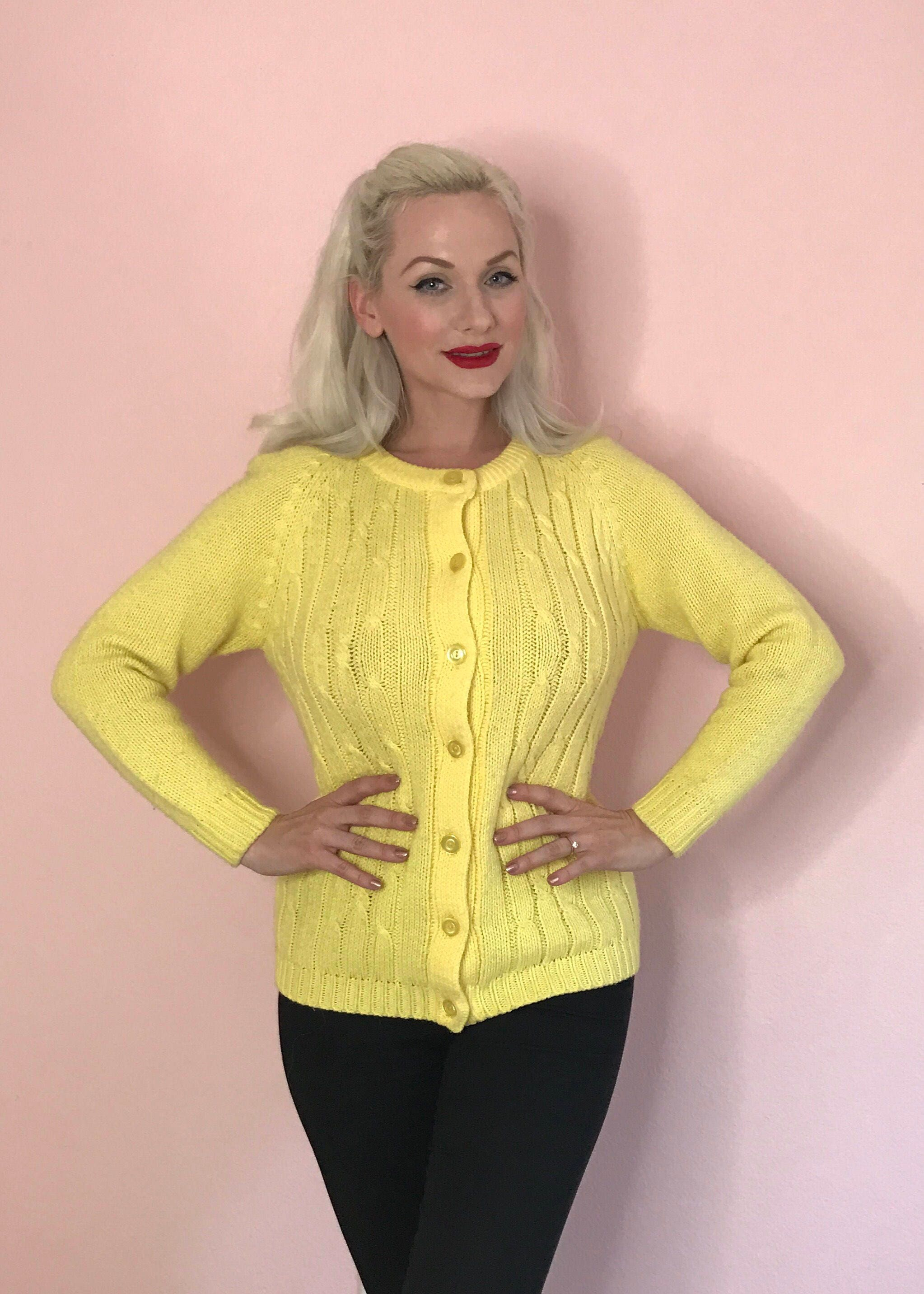 Vintage Bright Yellow Button Down Knit Pinup Sweater Size