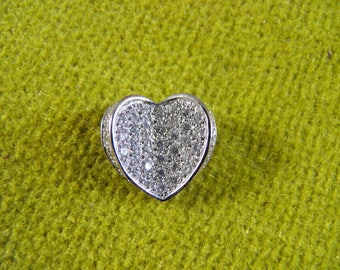 Important Pave Faux Diamond Heart Pendant in Silver
