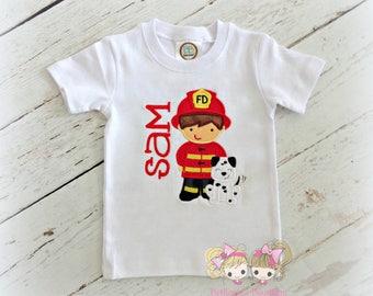Fireman shirt - fireman and dalmatian shirt - personalized shirt with fireman and dalmatian - fireman themed birthday - custom fireman shirt