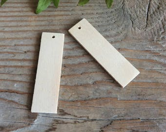 Wooden rectangles / set of 10 / wooden bar / wood shape / diy wood jewelry supplies / earrings blank / bar pendant blank