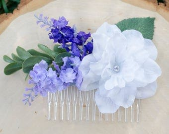 purple and white flower hair comb - wedding bridal accessory