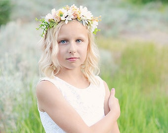 Floral flower girl or bridesmaid headband floral headband flower headband