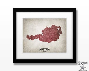 Austria Map Art Print - Home Is Where The Heart Is Love Map - Original Custom Map Art Print Available in Multiple Size and Color Options