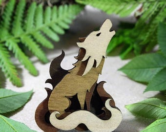 SALE Wolf Brooch - Woodland Collection