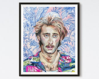 HI Expectations - Raising Arizona Painting - Nicolas Cage Portrait - HI McDunnough - Floral Painting - Pop Culture Art - Nic Cage Painting