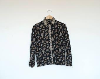 Vintage Paisley Print Button Up Long Sleeve Shirt