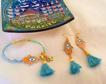Hamsa amulet bracelet and earrings set , bohemian gypsy jewelry set , healing talisman bracelet and earrings, tassel jewelry set