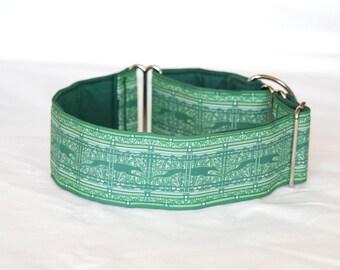 "2"" Martingale Dog Collar Greyhound Paisley Stripes - Green"