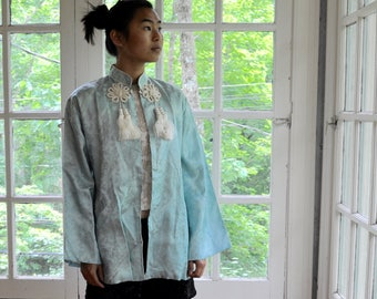 Powder Blue Asian Pajama Jacket/Vintage 1930s/Pale Blue Evening Jacket With Large White Tassels/Size Small Medium