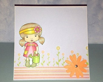 Choose Your Sentiment for Your Watercan Marci Card OOAK Handmade Card Happy Birthday Sunny Day