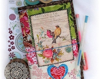 ON SALE OOAK Fauxdori, Vintage Birds Midori, Fabric Collage Fauxdori, Traveler's Notebook, Free Insert!
