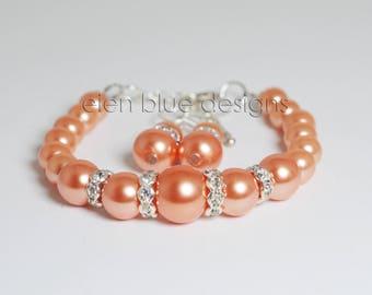 Coral Pearl Bracelet, Coral Pearl & Rhinestone Bracelet, Coral Bracelet and Earrings, Salmon Pearl Bracelet, Coral Bracelet, Coral Wedding