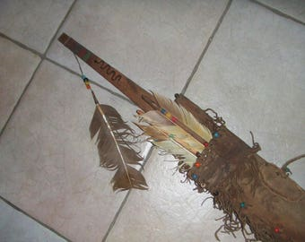 Native American Indian style artifact reproduction Bow Case and Quiver with Arrows