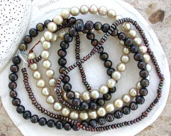 3 Strands ~ Sale Beads, Destash Fresh Water Pearls, Chocolate Brown Potato Pearls, Beige Potato Pearls, Brown Iris Button Pearls DS-915