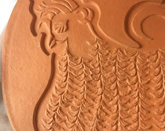 Vintage Bennington Pottery Terra Cotta Wall Hanging David Gil Chicken 1964