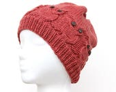 Owl Hat, Hand Knitted Hat with Eight Owls, Unisex Adult Beanie, Rosé Hat with Owls in Cable Knit Design, Navajo Churro Wool & Mohair Blend