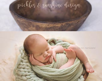 Pre-Order...The *Perfect posing* bowl for Newborn Photography, Vintage reproduction, Primitive dough bowl made from resin, posing prop