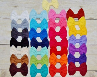 Solid Fabric Hairbows, Back to School Bows, Double Stack Fabric Bows, Girls accessories, Toddler Hair Clip, PIggie Bows, Pigtail Bows