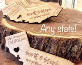 Wedding state save the date wood state magnet, wood cut out, engraved, personalized, wedding invites, rusticdeer, any state wood