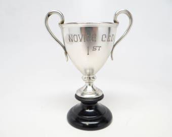 1930's Antique Silverplate Brass Trophy, Vintage Novice C & D 1st Place, Long Island, New York
