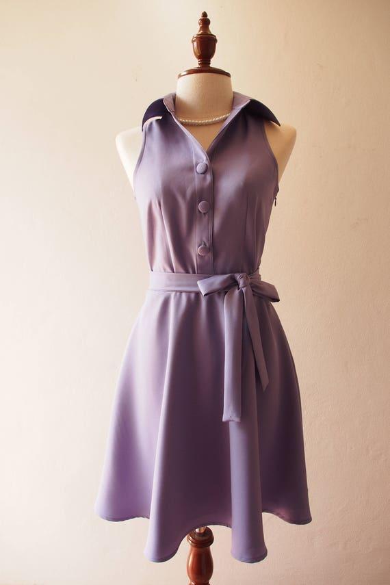 DOWNTOWN Dusty Purple Dress Shirt Dress Day to Night Korean