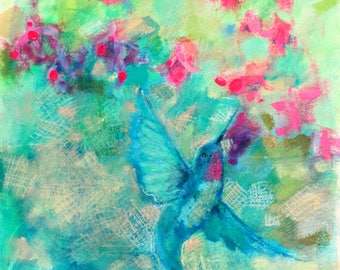 "Loose Original Hummingbird Painting, Small Affordable Artwork, ""Nectar Sipping"" 12x12"""