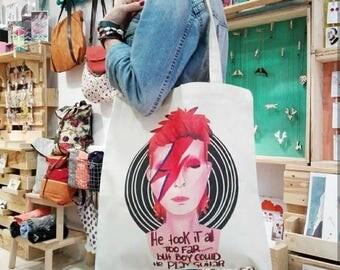 David Bowie Aladdin Sane Ziggy Stardust tote bag