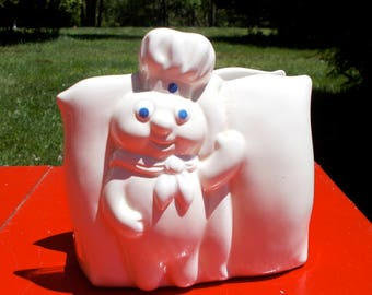 PILLSBURY DOUGH BOY Napkin Holder  White Ceramic marked 1988 The Pillsbury Company