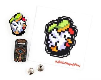 Legend of Zelda Enamel Pin & Sticker Pack / Cucco Sticker and Pin / Sheikah Slate Pin / Glow in the Dark / Deluxe Pin Clutches / Zelda Pins