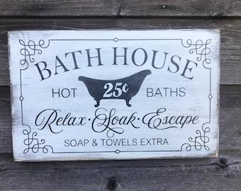 Bathroom Decor Wood Signs Primitive Rustic Farmhouse