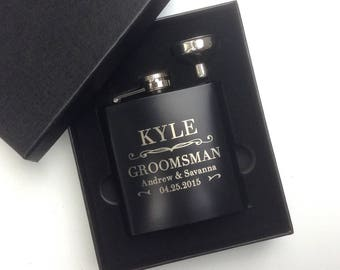 Groomsmen Gift, Engraved Hip Flask, Groomsmen Flask, Personalized Flask, Flask Gift Set, Bridal Party, Wedding Party Gift, Flask