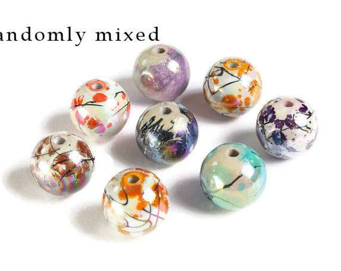 14mm Drawbench beads - 14mm mixed color round glass bead - 14mm Bubblegum Beads (1883) - Flat rate shipping