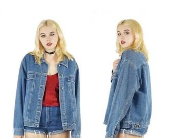 ON SALE Medium Wash 90s Denim Jacket, Vintage Grunge Jean Jacket, Patch Ready Grunge Denim Jacket, Women's Size Large