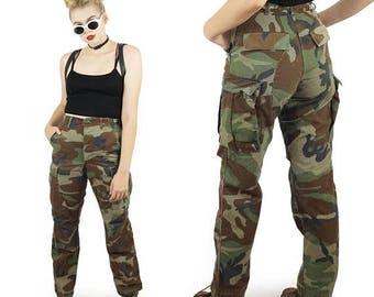 "ON SALE Camo 90s High Waisted Camo Pants, Military Desert Camo Print, Baggy Cargo Pants, 90s Grunge Goth, Size Small/Medium 26"" Waist"