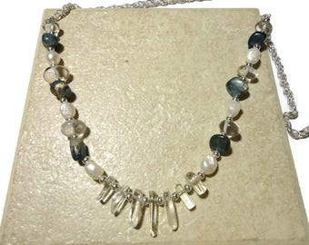 kyanite pearl glass silver necklace