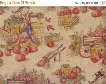 ON SALE Scarecrow Fabric, Fall Fabric, Harvest Toile, Scarecrow Fall Fabric, 00405